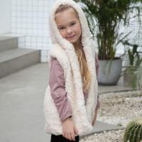 Furry Sleeveless Kids Wear Outwear Cardigan Jacket - White