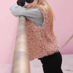 Furry Sleeveless Outwear Kids Cardigan Jacket - Pink