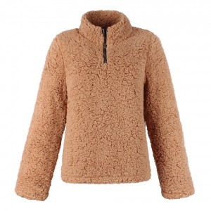 Stand Neck Zipper Style Pull Over Furry Jacket - Brown