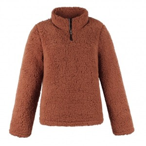 Stand Neck Zipper Style Pull Over Furry Jacket - Dark Brown