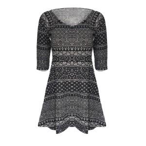 Off Shoulder Quarter Sleeves Mini Dress - Black