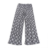 Bohemian Printed Elastic Waist Women Fashion Trouser - Black and White