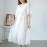 Lace Sleeves Sober Elegant Wear Midi Dress - White