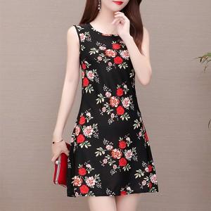 Floral Printed Sleeveless Mini Dress - Black
