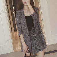 Modern Formal Suit Neck Coat With Skirt Bottom - Gray