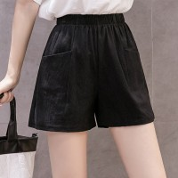 Elastic Waist Solid Color Bottom Shorts - Black