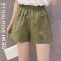 Elastic Waist Solid Color Bottom Shorts - Green