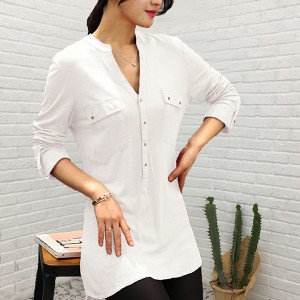 Stand Neck Button Closure Long Sleeves Solid Top - White