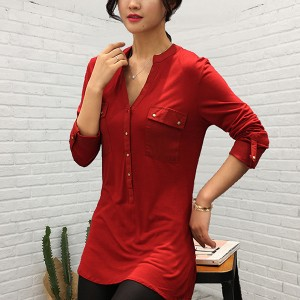 Stand Neck Button Closure Long Sleeves Solid Top - Red
