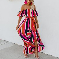Off Shoulder Stripes Printed Maxi Dress - Red