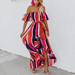 Off Shoulder Stripes Printed Maxi Dress - Red