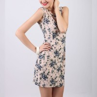 Sleeveless Floral Printed Mini Dress - Apricot