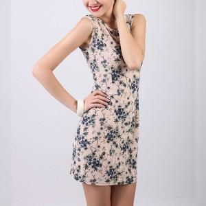 Sleeveless Floral Printed Mini Dress - Apricot