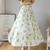 Avocado Printed Elastic Waist Chiffon Skirt - White