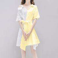 Cold Shoulder Shirt Collar Mini Dress - Yellow