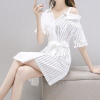 Cold Shoulder Shirt Collar Mini Dress - White