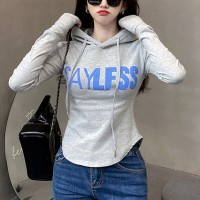 Hoodie Neck Bodyfitted Casual Wear Top - Gray