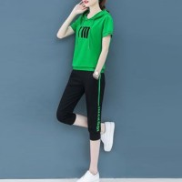 Hoodie Neck Two Pieces Short Sleeves Sports Wear Suit - Green