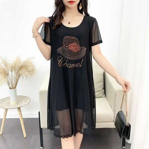 Printed Round Neck Chiffon Flared Hem Dress - Black