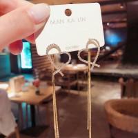 Girls Popular Love Tassel Heart Shape Earrings - Golden