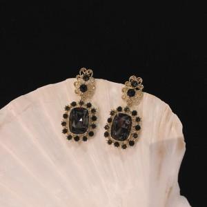 Girls Popular Needle Diamond Earrings - Black