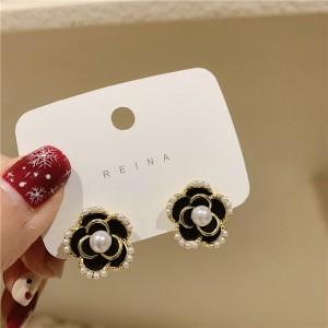 Girl Fashion Black Rose Pearl Earrings - Black