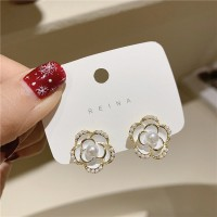 Girl Fashion White Rose Pearl Earrings - White