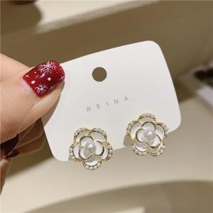 Girl Fashion White Rose Pearl Earrings - White