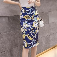 Floral Printed Pleated Formal Skirt - Blue