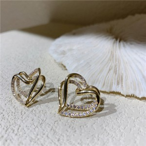 New Fashion Hollow Out Love Earrings - Golden