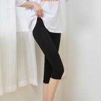 Body Fitted Below Knee Mesh Pattern Trousers - Black