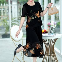 Floral Printed Round Neck Short Sleeves Dress - Black
