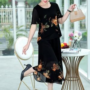 Floral Printed Round Neck Short Sleeves Dress - Black