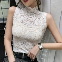 Floral Textured Stand Neck Sleeveless Body Fitted Top - White