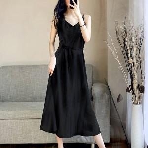 Spaghett Strapped V Neck Midi Dress - Black