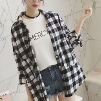 Geometric Printed Button Closure Full Sleeves Loose Shirt - Black