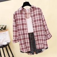 Geometric Printed Button Closure Full Sleeves Loose Shirt - Red