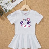 Round Neck Flare Hem Cute Girls Kitten Print Dress - White