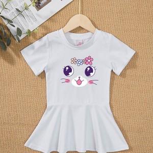 Round Neck Flare Hem Cute Girls Kitten Print Dress - White