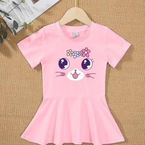 Round Neck Flare Hem Cute Girls Kitten Print Dress - Pink