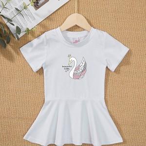 Round Neck Flare Hem Cute Girls Dress - White