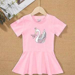 Round Neck Flare Hem Cute Girls Dress - Pink