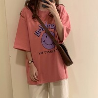 Cartoon Prints Round Neck Loose Wear Top - Pink
