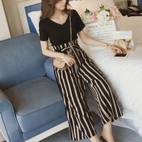 V Neck Top With Palazzo Stripes Printed Bottom Trouser - Black
