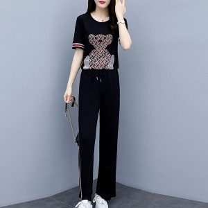 Bear Printed Round Neck Two Pieces Suit - Black