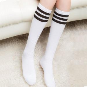 Stripes Print Fitted Long Socks - White