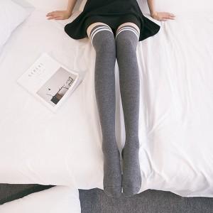 Stripes Print Fitted Long Socks - Gray