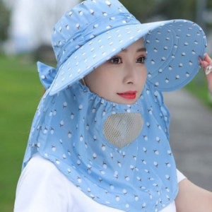 Anti Bacterial Protective Sun Protection Hat With Face Mask - Blue