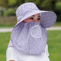Anti Bacterial Protective Sun Protection Hat With Face Mask - Purple
