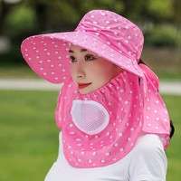 Anti Bacterial Protective Sun Protection Hat With Face Mask - Pink